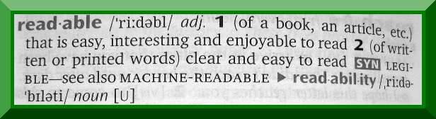 "Enjoyable is part of the definition of ""readable."""